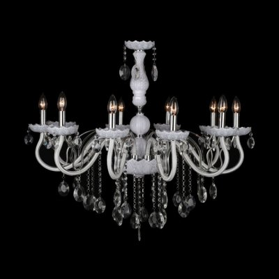 - hua Soft and Chic White Glass Arms and Clear Crystal Beaded Chandelier