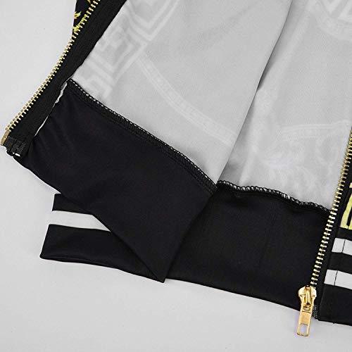 Stampa Fiore Bomber Cerniera Moda Giacca Fashion Primaverile Nero Lunga Giacche Vintage Outerwear Strisce Giaccone Stlie Di Autunno Alla Manica Grazioso Elegante Casual Donna Con Cappotto Giuntura XwtOEf