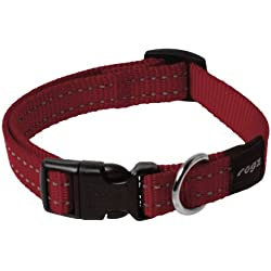 Reflective Dog Collar for Medium Dogs, Adjustable from 12-15 inches, Red