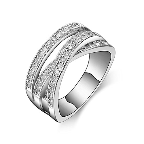 TEMEGO 14k White Gold Intertwined Crossover Ring - Women Pave CZ Wedding Band,Size 7 ()