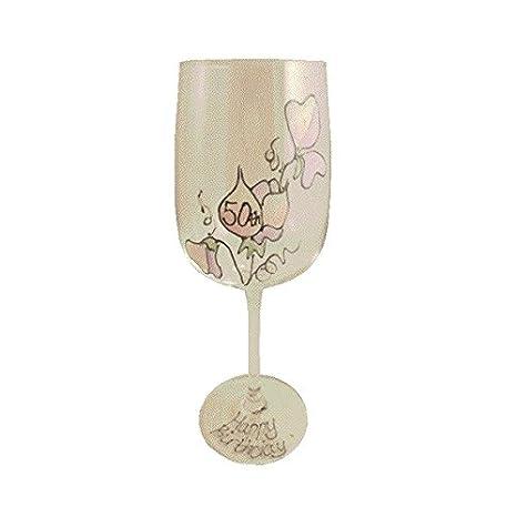 Amazon.com: 50 Feliz Cumpleaños Vaso de Vino (Sweet Pea ...
