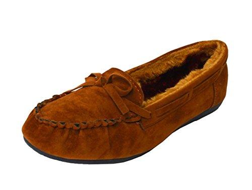 Lacets Casual Mocassin Mocassin Pantoufles Femmes Faux Fourrure Douce Daim Doublé Chaussures Plates Châtaigne (moccasin21)