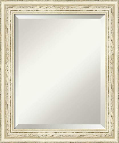 Framed Vanity Mirror | Bathroom Mirrors for Wall | Country White Wash -