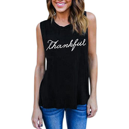 Big Promotion!Women T-Shirts Realdo Thankful Letter Print Sleeveless Tank Tops Blouse T-Shirt(US 6, Black) (Quarter Slub Sleeve Shirt)