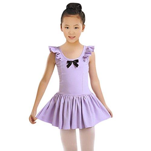 Leedford Leotard Dress,Toddler/Girls Cute Flutter Sleeve Tutu Dress Leotard For Dance, Gymnastics and Ballet (6T, Purple)