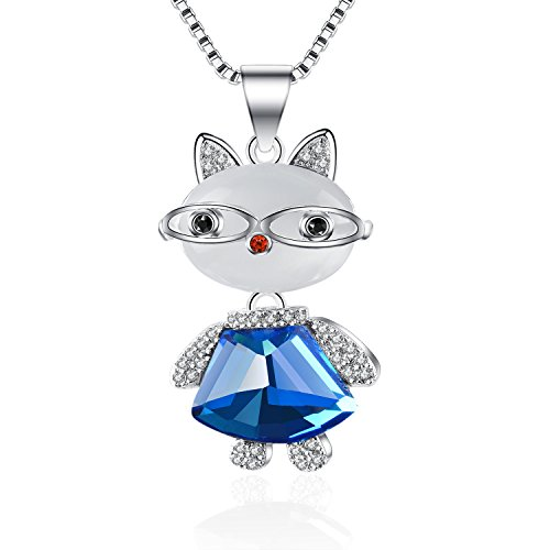 Sterling Silver 'Fashion Jazz Cat' Opals Pendant Necklace Best Gift for Women Girls Children (Sky (Big Sky Silver Jewelry)