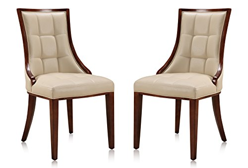Ceets DC008-CR 5th Avenue Leatherette (Set of 2) Dining Chair, 23.6 x 18.5 x 36.6, - Chair Art Set Deco