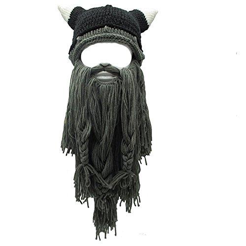 Flyou Adult Viking Beard Beanie Horn Hat Winter Warm Mask Hat Knitted Wool Funny Skull Cap (Horn-Dgray)