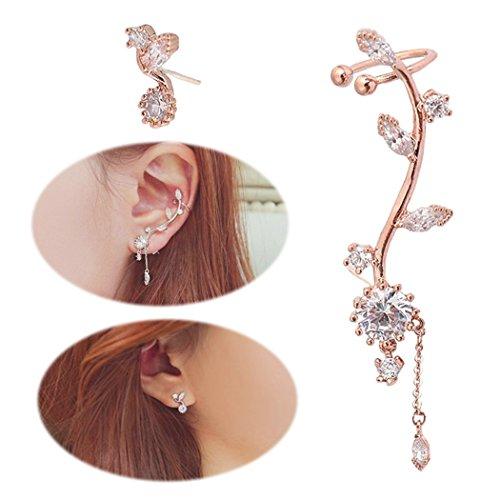 Ear Crawler Earrings Leaves Climber Ear Cuff Chandelier Rhinestone Wrap Pin Asymmetric Flower Tassel Stud Golden - Earring Cuff Ear