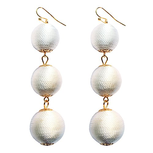 White Thread Ball Dangle Earrings Soriee Drop 3 Balls Long Tassel Wedding Earrings for Women Girls ()