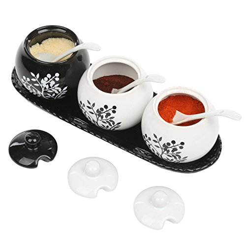 Set of 3 Black & White Ceramic Floral Tree Motif 7-oz Spice Jars, Condiment Pots w/Serving Spoons, Tray (Coffee Tray Container)