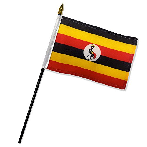 ALBATROS (Pack of 12) Uganda 4 inch x 6 inch with Stick for Desk Table Flag for Home and Parades, Official Party, All Weather Indoors Outdoors