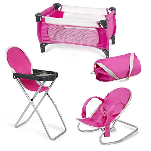Exquisite Buggy Pink-Cream Doll Set with Pack n Play Carry Bag  3 in 1 Pink Baby Doll Playing Set for Kids   Baby High Chair, Infant Seat, and Baby Doll Crib