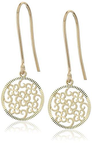 14k Yellow Gold Swiss Cut Circle Novelty Dangle Earrings 14k Yellow Gold Swiss