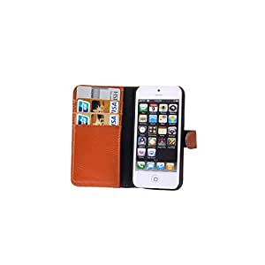 Litchi Texture Genuine Leather Case with Credit Card Slot for iPhone 5 (Brown)