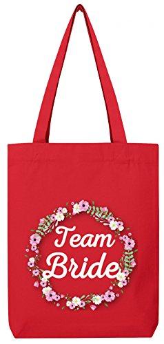 Braut Security Junggesellinnenabschied JGA Premium Bio Baumwoll Tote Bag Jutebeutel Stanley Stella Blumenkranz Team Bride Red F0QIIUBk