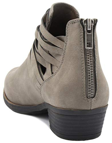 Block Ladies Women's Heel Cross Zip Rhodie Grey Criss Rampage Boot Wraparounds Dress with Bootie Ankle Back wtACn4q
