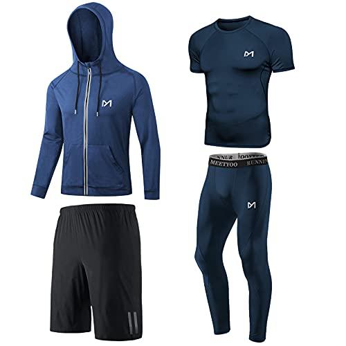 MEETYOO Compressieshirt voor heren, leggings, compressieshirt, lange mouwen, voor sport, fitness, gym