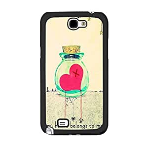 Hight Impact Hard Plastic Love Heart Design Cover Case for Samsung Galaxy Note 2 N7100 Hipster Back Skin for Girls (love heart wish)