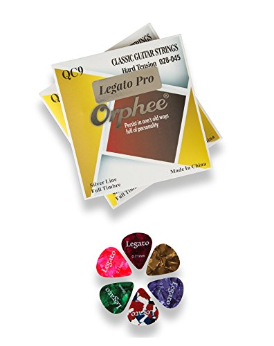 Nylon Classical Acoustic Guitar Strings from Beginners to Pro Level Hard Tension (2 Pack) Bundle