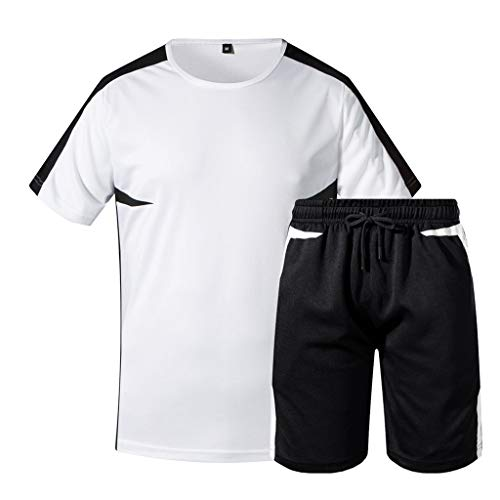Training Dry T-Shirt for Men,NEWONESUN Running Shorts Summer Casual Short Sleeve Tracksuit Sweatpants Sportwear White