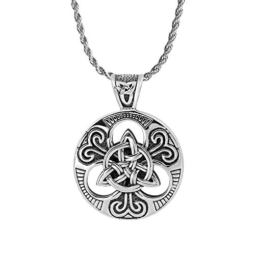 iSTONE Celtic Knot Necklace for Men,Stainless Steel Magic Double Side Solid Heavy Pendant with 24 inch SteelChain Celtic Triquetra Knot Magic