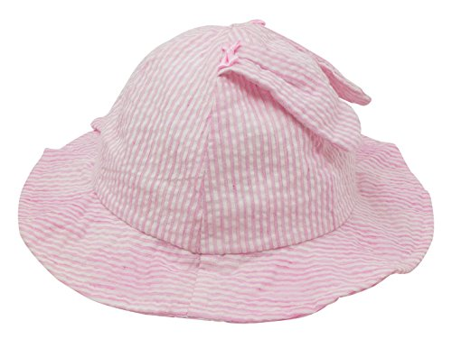 Kids Baby Striped Print Cap Cartoon Rabbit Ears Princess Large Wide Brimmed Sun Protection Hat Toddler Spring Soft Sun Hat for 0-3M Pink