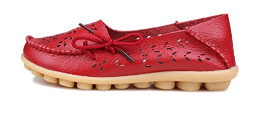 Casual Leather floral Red Shoes Kunsto Women's Loafer qE5wqST