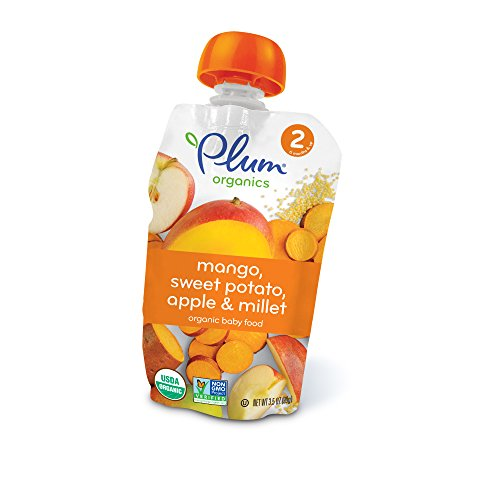 Plum Organics Stage 2, Organic Baby Food, Mango, Sweet Potato, Apple and Millet, 3.5 ounce pouch (Pack of 12) (Veggie Potato Sweet Life)