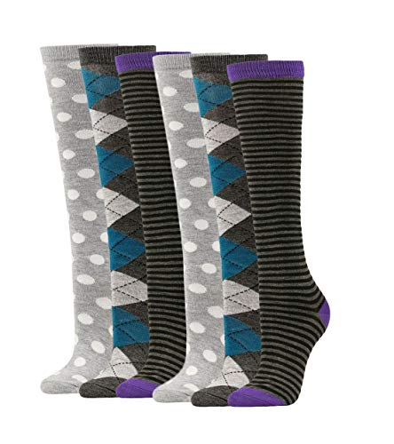 Women's Soft Knee High Socks,Casual, Argyle, Polka-dots, Stripes Multi Color Value 6 Pack (Assorted1-6pk) ()
