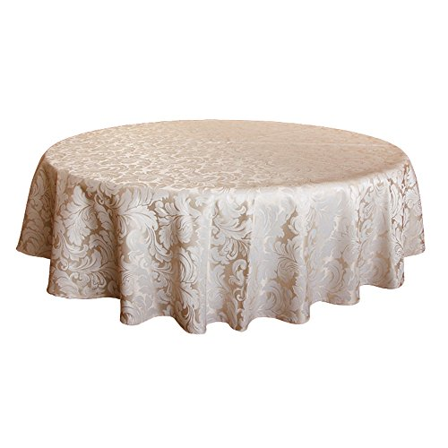 ColorBird Scroll Damask Jacquard Tablecloth Spillproof Waterproof Fabric Table Cover for Kitchen Dinning Tabletop Linen Decor (Round, 70 Inch, Beige)
