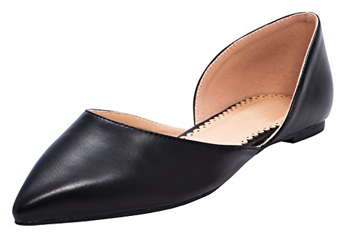 Cambridge Select Dames Gesloten Puntschoen Dorsay Slip-on Ballet Plat Zwart Pu