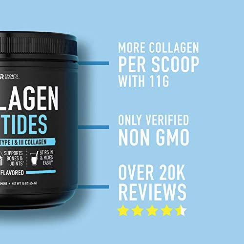 Collagen Peptides Powder | Non-GMO Verified, Certified Paleo Friendly and Gluten Free - Unflavored (16oz Jar) 4