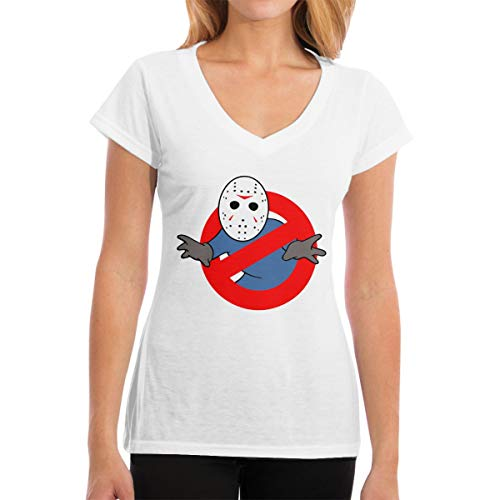 Cheny Ghostbusters Jason Voorhees WomenV-Neck ComfortSoft Tees Short Sleeve White]()