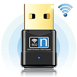 WiFi Adapter 300Mbps Wireless N Adapter 2.4G WiFi USB Adapter Anmier Network Lan Card, Wireless USB WiFi Network Dongle Adapter for Desktop Pc Laptop Support Win XP/Vista/7/8.1/10/Mac OS X 10.4-10.11