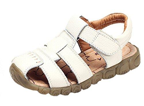 DADAWEN Boy's Girl's Closed Toe Outdoor Sandal  White US Siz