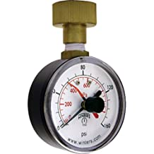 "Winters PET Series Steel Dual Scale Maximum Pointer Water Test Pressure Gauge with Polycarbonate Lens, 0-160 psi/kpa, 2-1/2"" Dial Display, +/-3-2-3% Accuracy, 3/4"" Female Swivel Hose Connection"