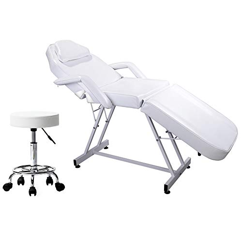 Kepooman Massage Table 75 inches Portable Massage Bed 3 Section Adjustable Beauty Spa Bed Facial Salon Tattoo Chair with Adjustable Height Stool,White