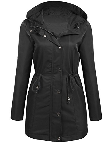 Unibelle Women's Military Parka Button Trench Hooded Coat (Drawstring Hooded Long Jacket)