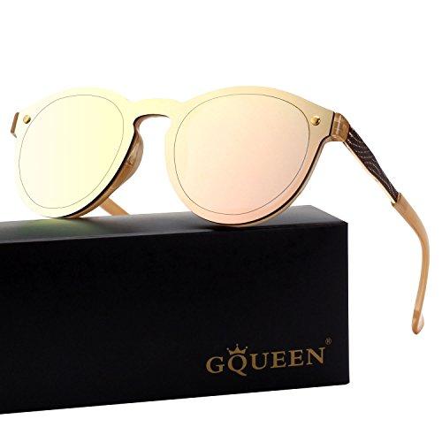GQUEEN Futuristic Shield Rimless Mirrored Lens Sunglasses MEO5