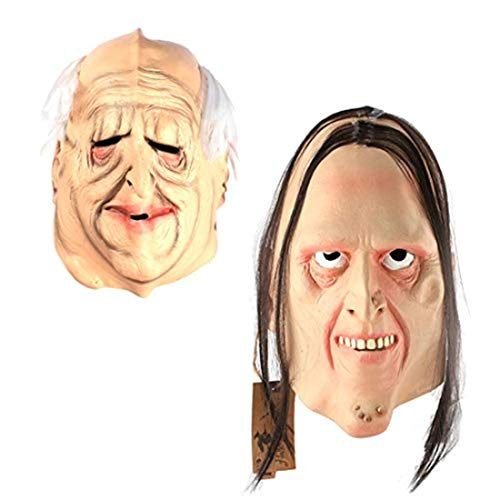 2pcs/set Latex Old Man Cosplay Mask and Movie Theme Mask for Halloween Masquerade Costume Party Randomly Sent 1pcs Holloween Mask -