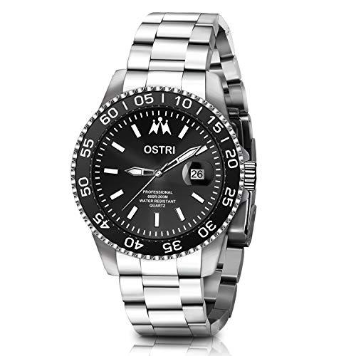 Diving Wrist Watch - Ostri Men's Quartz Watch Date Analog Display Diver Watch Waterproof Business Luminous Wrist Watch with Silver Stainless Steel Strap