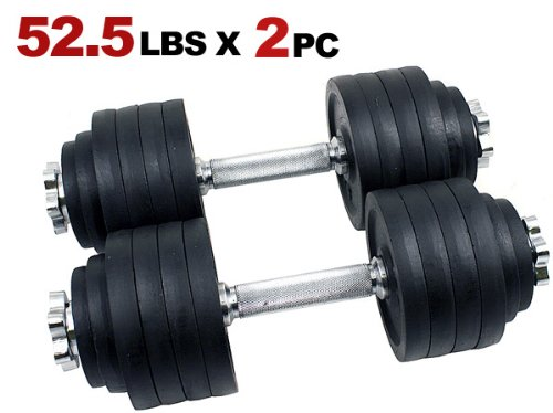 Unipack Adjustable Weight Cast Iron Dumbbells Set 105lbs