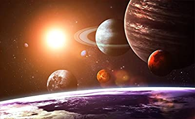 "24"" Landscape Outer Space Scene Instant View SOLAR SYSTEM #1 Wall Sticker Room Decal Home Office Art Décor Den Kids Mural Man Cave Graphic SMALL"