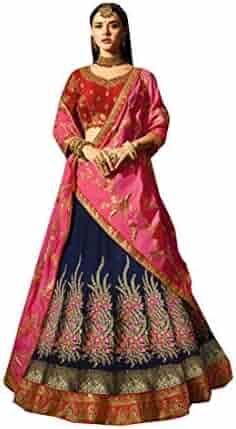 dbde1659f8 Blue Marvadi Style Multi Silk Indian Style Wedding Lehenga Choli Women  Ghagra Zari 8097