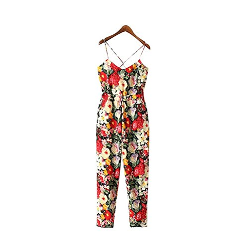 (Puissant Unique Floral Print Sleeveless Jumpsuits V Neck Elastic Waist Pockets Backless Straps Rompers,Small,Aspicture)