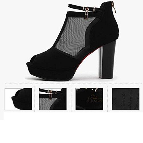 Pour Mode Bottes pour Chaussures Mollet Noir Party femmes Mi Pour Talon Été Strass Printemps chaussures Bottes femmes Chunky Femmes Bottes HAIZHEN Casual 50wznpaqa