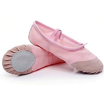 Zapatillas de ballet, de lona, para niñas y niños, de yoga, danza, transpirables, rosa, 17.5cm: Amazon.es: Deportes y aire libre