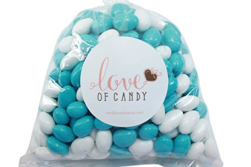 Love of Candy Bulk Candy - Light Blue & White Chocolate Almonds - 1lb Bag