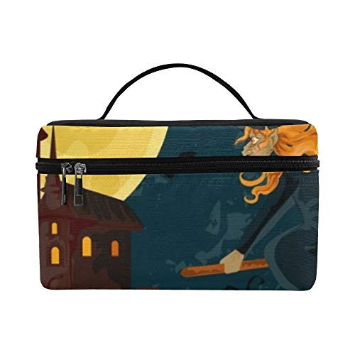 Halloween Trick Treat Greeting Card Spooky Lunch Box Tote Bag Lunch Holder Insulated Lunch Cooler Bag For Women/men/picnic/boating/beach/fishing/school/work -